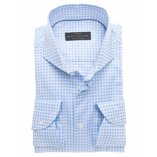John Miller ruit l. blauw dress-shirt