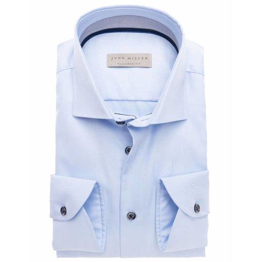 John Miller l. blauw uni dress-shirt