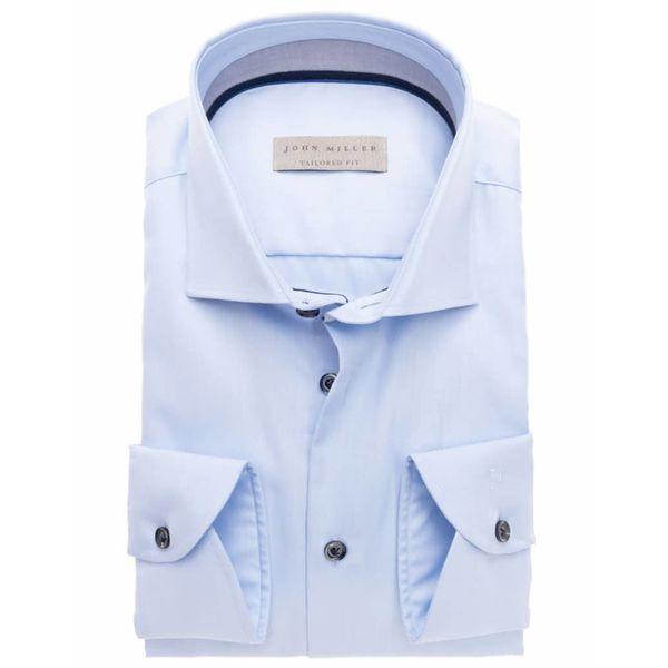 l. blauw uni dress-shirt
