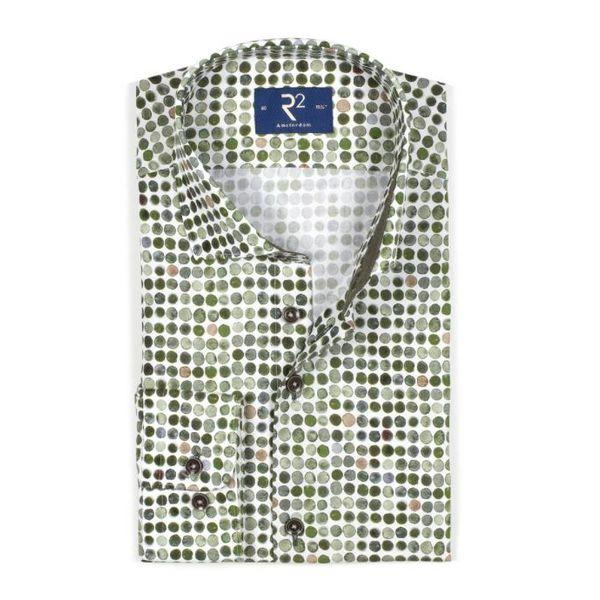 R2 groen stip dress-shirt