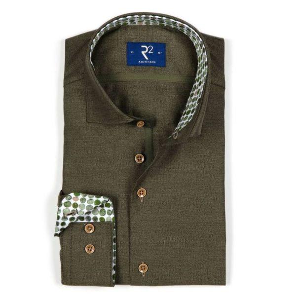 R2 mosgroen dress-shirt