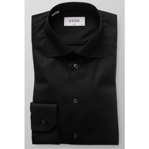 Eton zwart uni dress-shirt