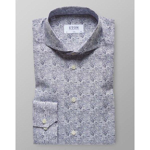 dress-shirt l. blauw print slimfit
