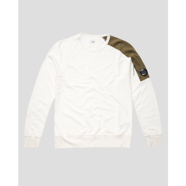 light fleece crew sweatshirt white/green