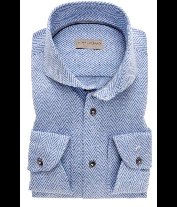 John Miller dress-shirts structuur l. blauw