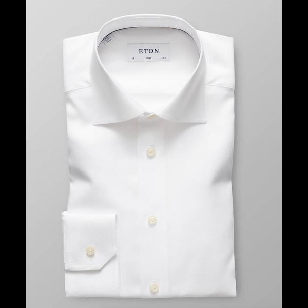 dress-shirt wit fijne structuur slimfit