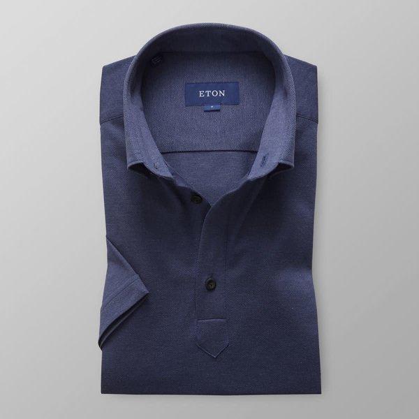 tricot polo-shirt d. blauw slimfit