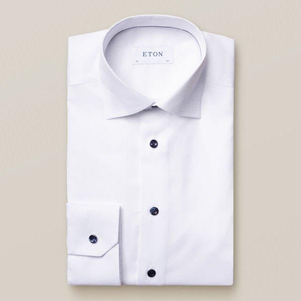 dress-shirt wit met blauwe knoop slimfit