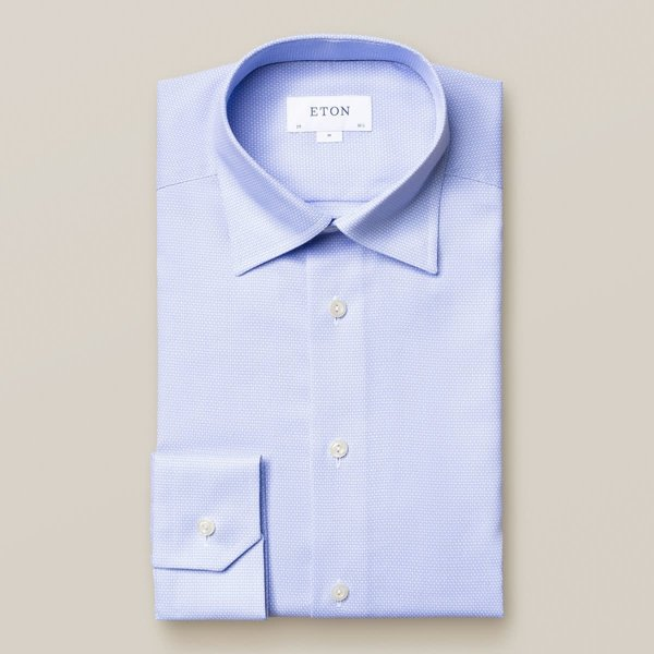 dress-shirt l. blauw, fijne structuur slimfit