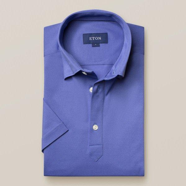 tricot polo-shirt kobalt slimfit