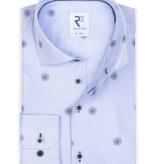 R2  print dress-shirt l. blauw