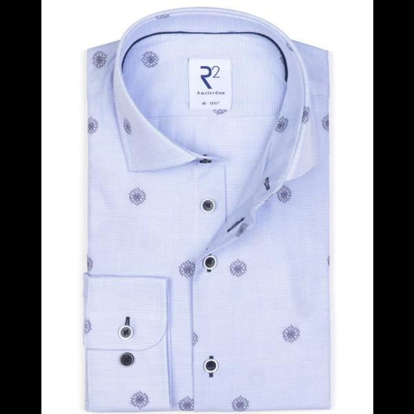 print dress-shirt l. blauw