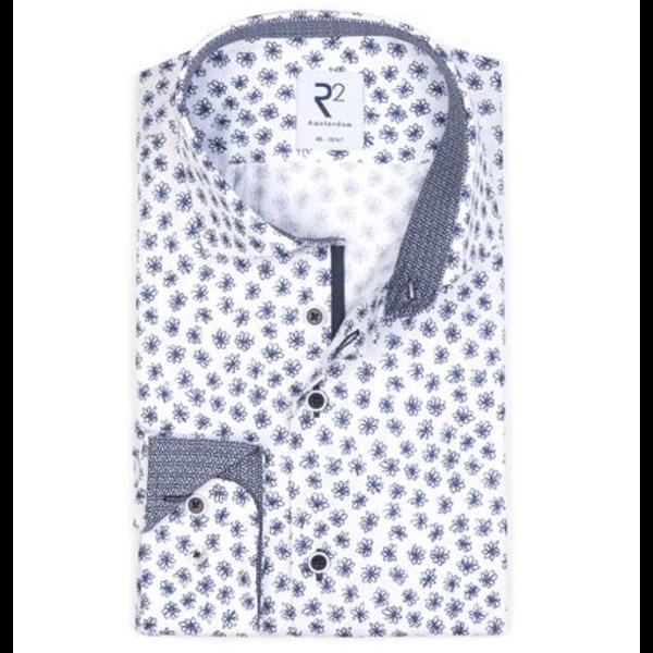 print dress-shirt blauw