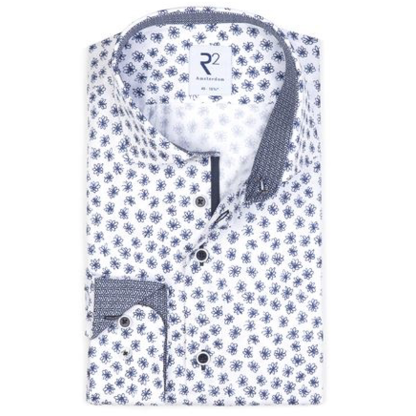 R2 print dress-shirt blauw