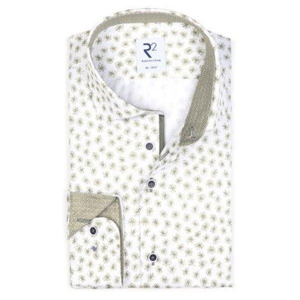 print dress-shirt, groen