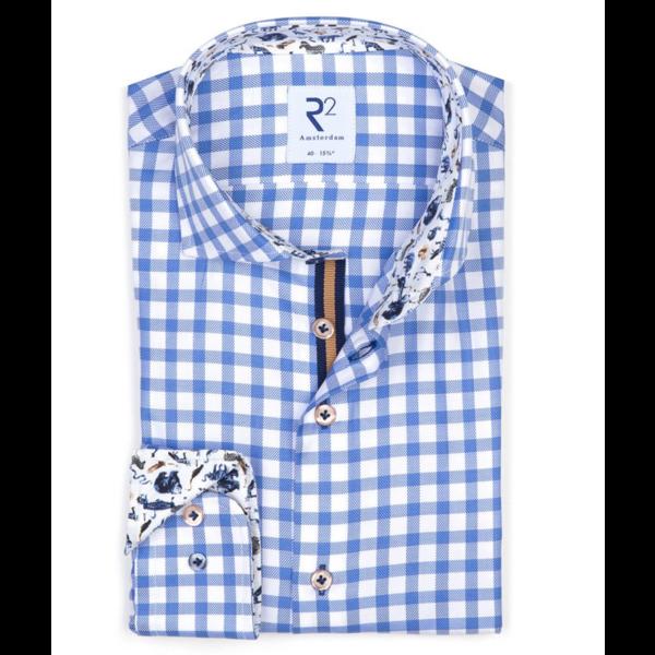 dress-shirt blauw ruit