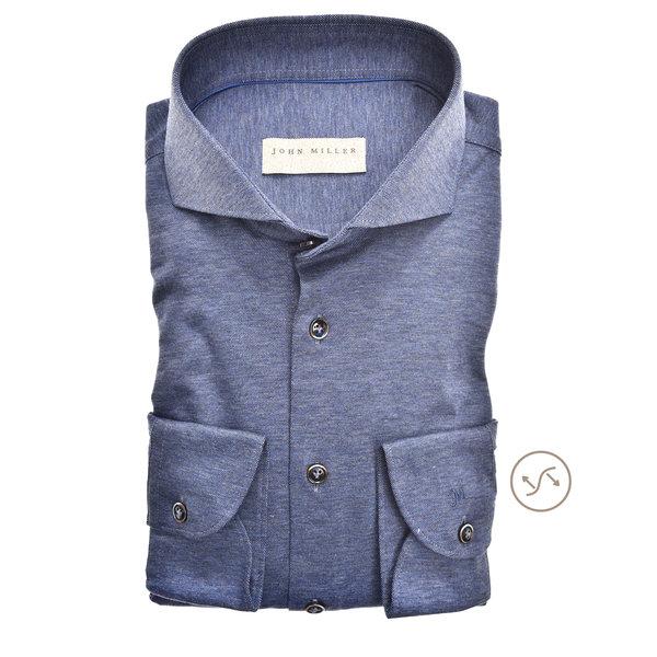 dress-shirt tricot m. blauw slimfit