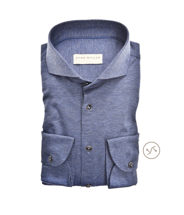 John Miller dress-shirt tricot m. blauw slimfit