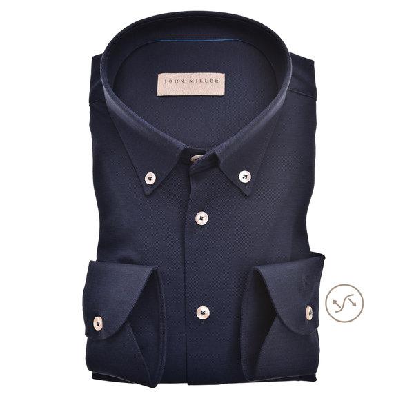 dress-shirt tricot d. blauw slimfit