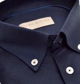 John Miller dress-shirt tricot d. blauw slimfit