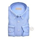John Miller dress-shirt tricot l.blauw slimfit