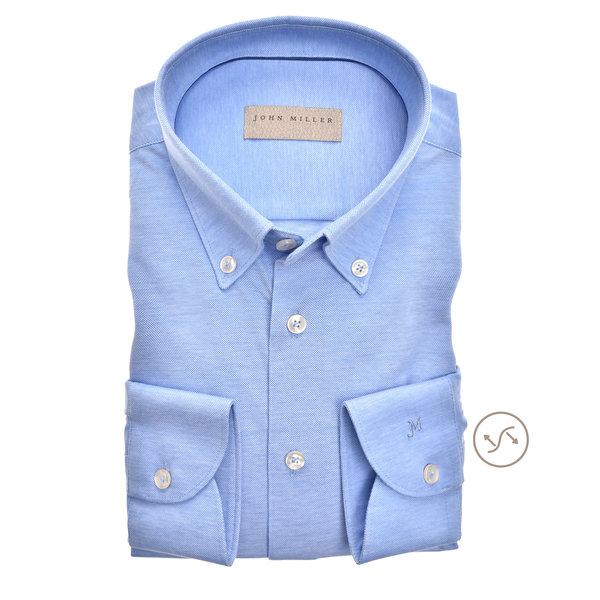 dress-shirt tricot l.blauw slimfit