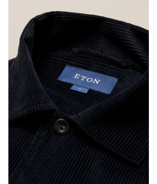 Eton corduroy over-shirt d. blauw