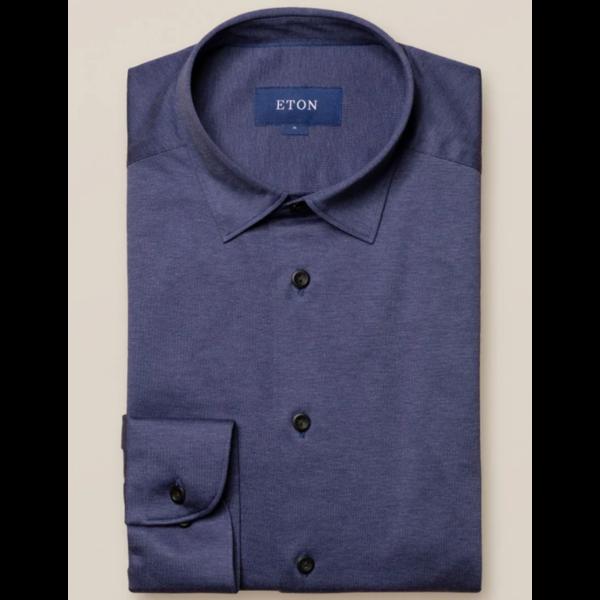 tricot dress-shirt m. blauw slimfit