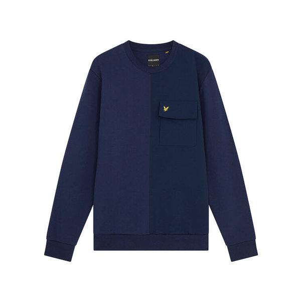 pocket sweater d. blauw