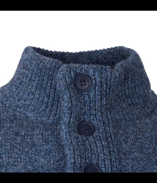 Barbour trui met suede mouwstukken