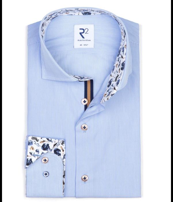 R2 dress-shirt l. blauw streep print