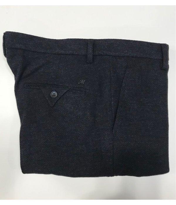 Mason's stretch visgraat chino d. blauw
