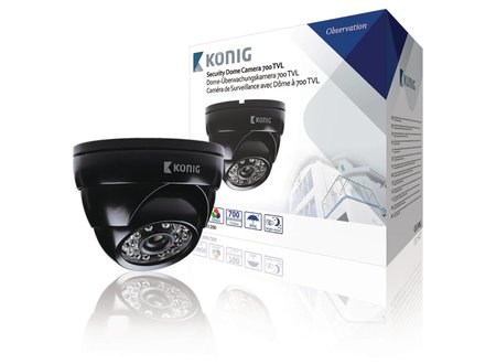 Konig Dome Beveiligingscamera 700 TVL IP66 Zwart