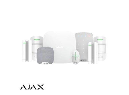 Ajax AJAX HUBKIT LUXE WIT: GSM/LAN HUB, 2 x PIR, 2 * MC, AFB, KEYPAD, BINNENSIRENE