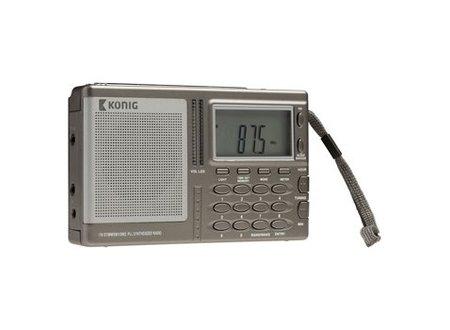 König Draagbare Wereld Radio FM / AM Grijs
