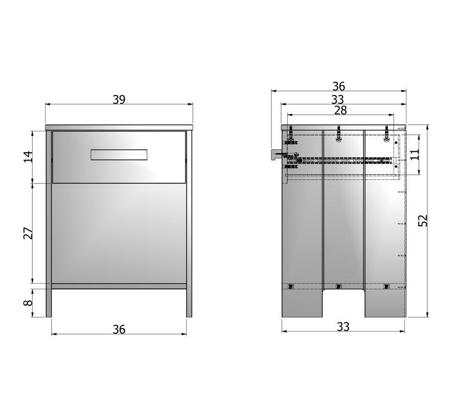Dennis Nachtkastje Grenen Steel Grey Geborsteld [fsc]