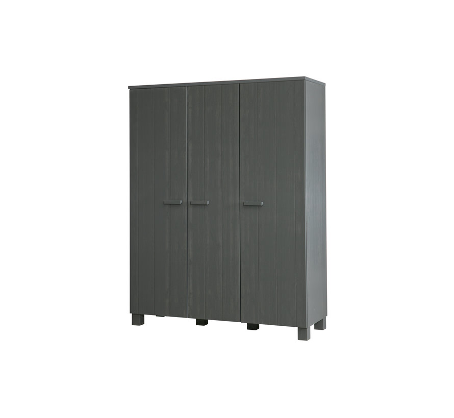 Dennis 3-deurs Kast Grenen Steel Grey Geborsteld [fsc]