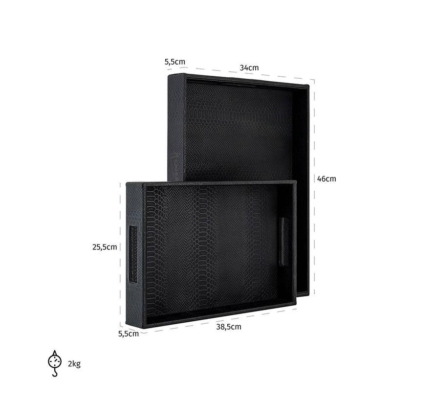Dienblad Blane zwart croco set van 2 (Zwart)
