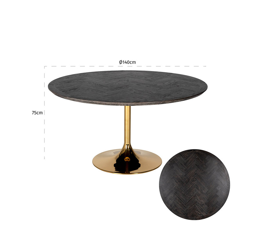 Eettafel Blackbone gold rond Ø140 (Goud)