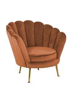 Richmond Interiors Fauteuil Perla Rust Velvet (Quartz Rust 301)