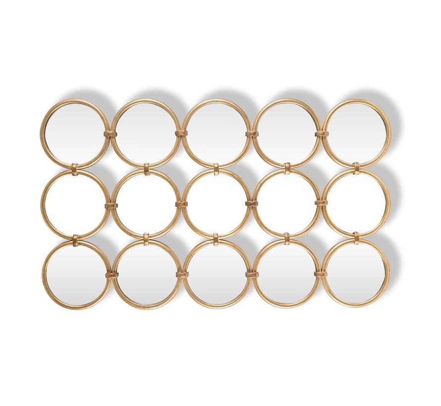 Spiegel Coley met 15 ronde spiegels (Goud)