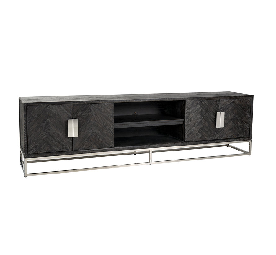 TV-dressoir 220 Blackbone silver 4-deuren (Zilver)