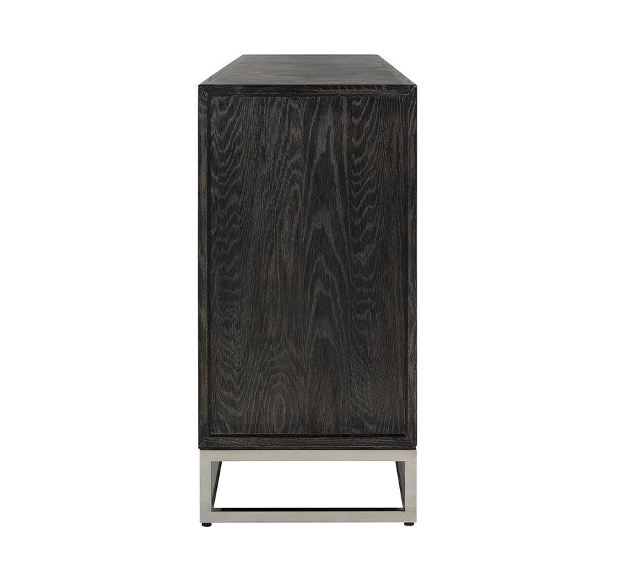 Dressoir Blackbone silver 4-deuren + open vak (Zilver)