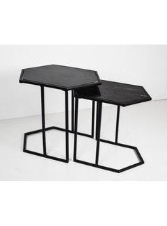 Livingfurn CT - Hexagon Marble Black Black Set of 2