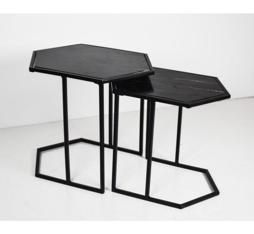 CT - Hexagon Marble Black Black Set of 2