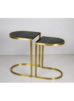 Livingfurn CT - Half Round Marble Black Gold Set of 2
