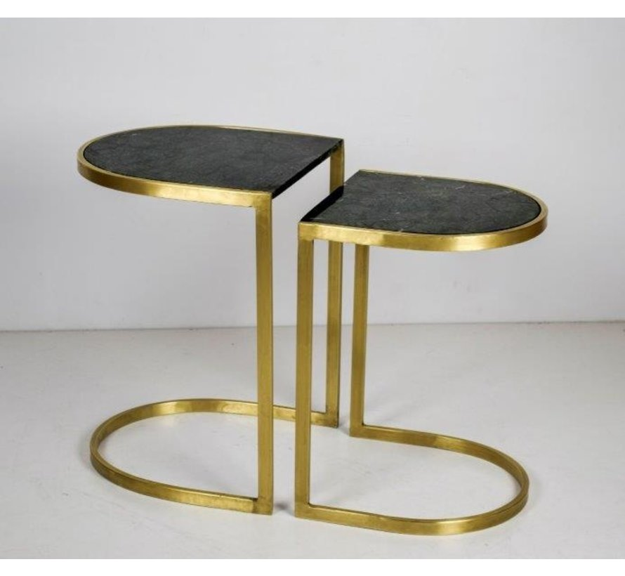 CT - Half Round Marble Black Gold Set of 2