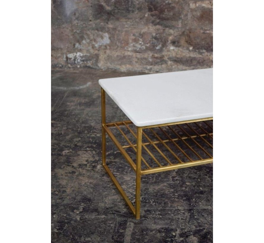CT - Rectangular Marble White Gold 90cm