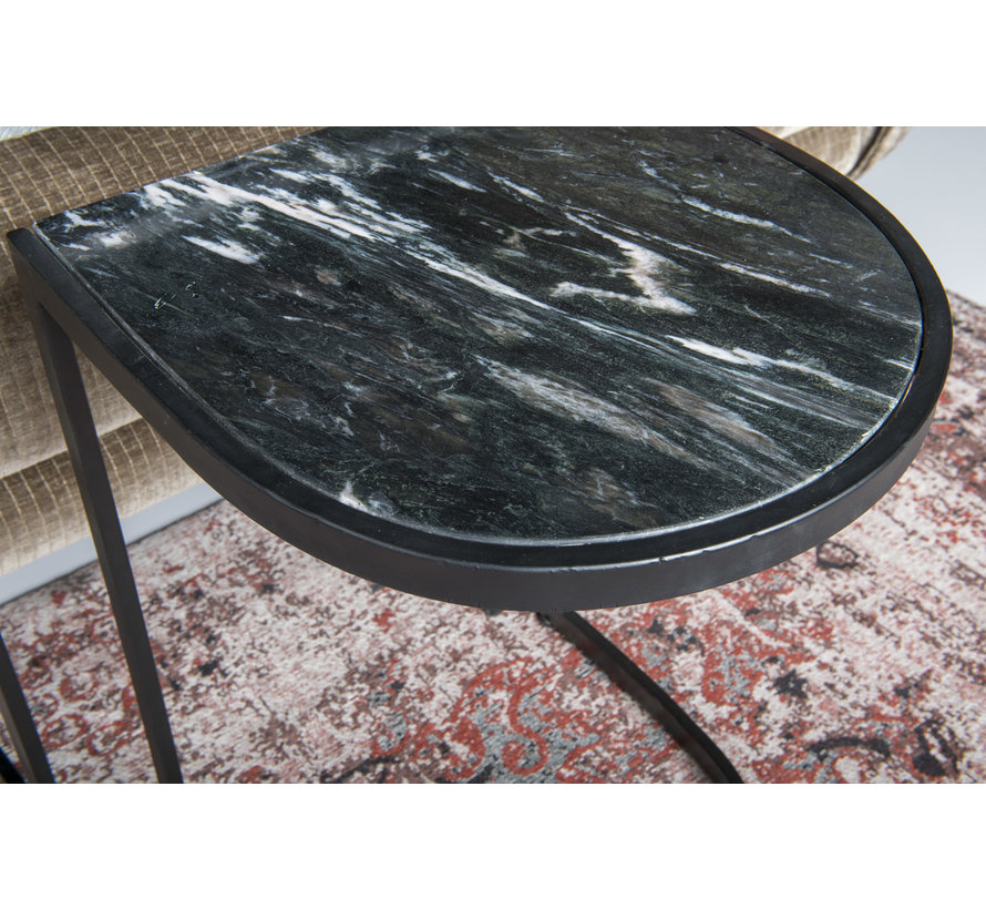 CT - Half Round Marble Black Black Set of 2