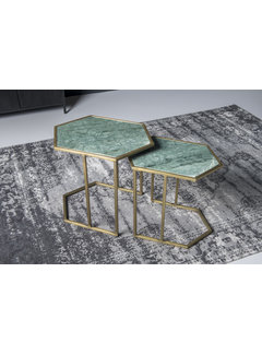 Livingfurn CT - Hexagon Marble Green Gold Set of 2